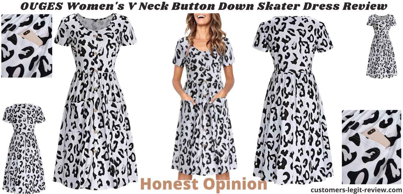 OUGES Women's V Neck Button Down Skater Dress Review